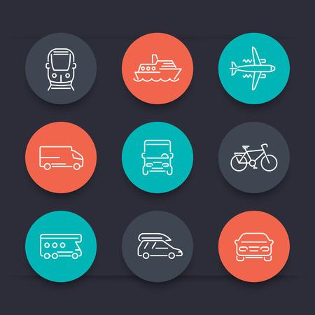 minivan: Transport, car, van, minivan, bus, train, airplane, ship line round color icons, vector illustration