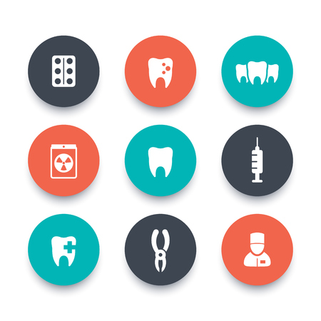 toothcare: Teeth round icons, dental care, tooth cavity, toothcare, stomatology, vector illustration