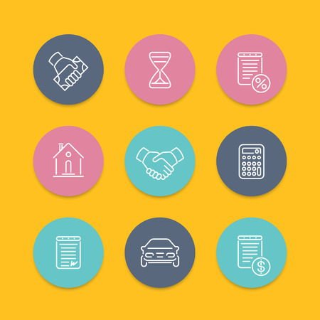 leasing: Leasing, loan, deal line icons, round flat set, vector illustration Illustration