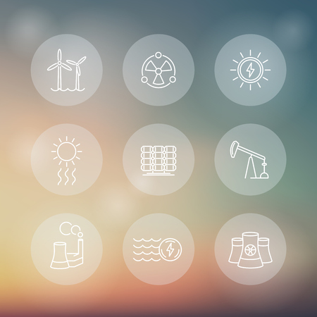 energy production: Power, energy production, energetics, nuclear energy, line round transparent icons, vector illustration
