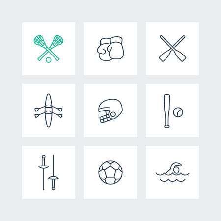 lax: sports and games line icons in squares, vector illustration Illustration