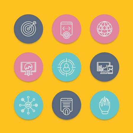 indexing: seo line round icons, search engine optimization, internet marketing, website indexing, seo tools, vector illustration Illustration
