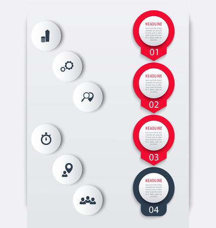 Vertical timeline infographic elements, icons, step labels, vector illustration