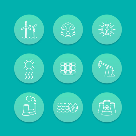 energy production: Power, energy production, energetics, nuclear energy line icons, aquamarine set, vector illustration