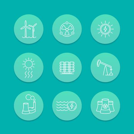 energetics: Power, energy production, energetics, nuclear energy line icons, aquamarine set, vector illustration