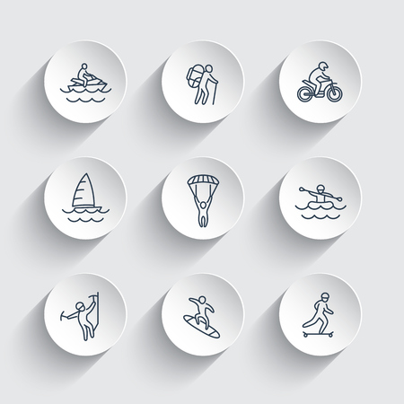 outdoor activities: extreme outdoor activities line icons on round 3d shapes, vector illustration Illustration