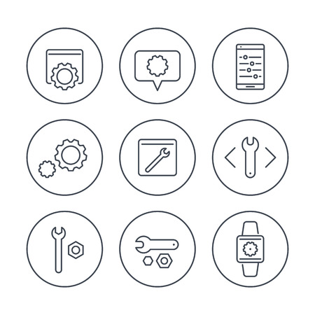 calibration: settings, tools, service line icons in circles, vector illustration