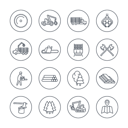 logging: Logging, sawmill line icons in circles, logging truck, tree harvester, timber, lumberjack, wood, lumber, vector illustration
