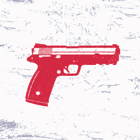 handgun: modern pistol, handgun, semi-automatic gun, vector illustration, easy to edit