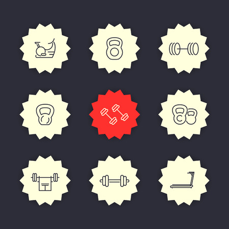 crossbar: Gym equipment line icons set, vector illustration