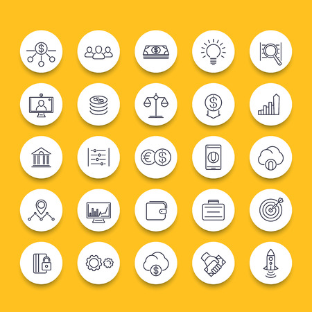 startup: Venture capital, investments, startup, hedge fund, line round icons, vector illustration