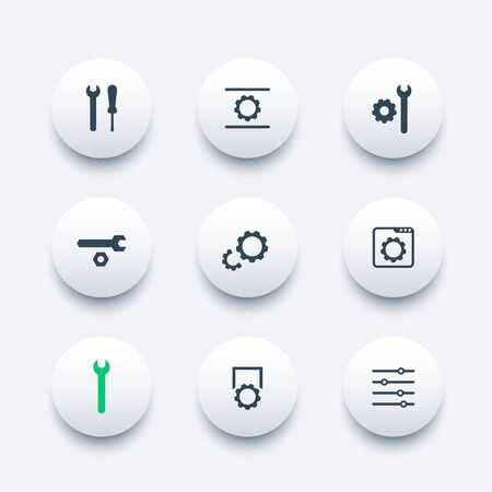 calibration: settings, configuration, development modern round icons, vector illustration Illustration