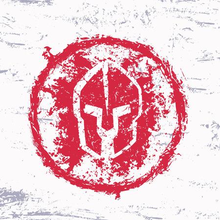 grunge red spartan helmet, round sign, vector illustration