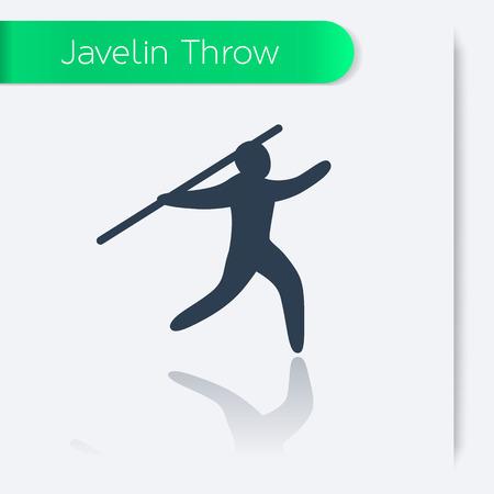 lanzamiento de jabalina: Icono Javelin Throw, el hombre con la lanza, atleta con jabalina, ilustraci�n vectorial