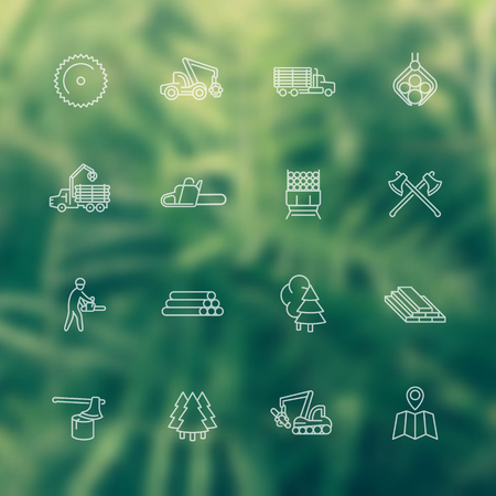 logging: Logging, sawmill line white icons, logging truck, timber, lumberjack, wood, tree harvester, vector illustration Illustration