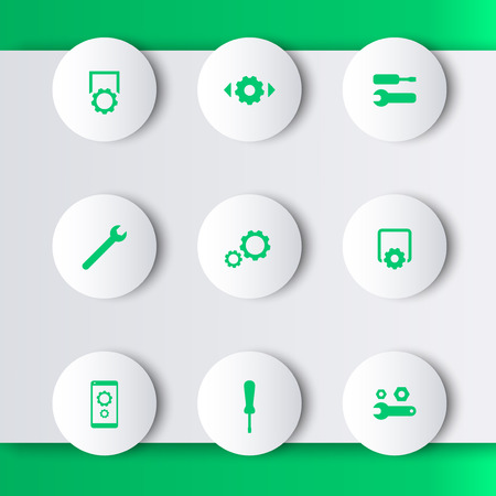 preferences: settings, configuration, preferences green modern round icons, vector illustration