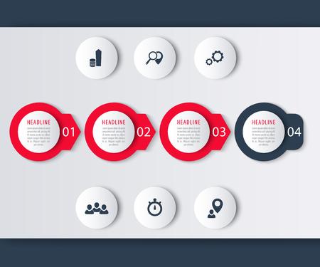 timeline: Timeline infographic elements, icons, step labels in green, vector illustration Illustration