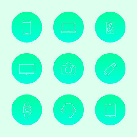 tv camera: Gadgets (smartphone, tablet, tv, camera) line white icons, vector illustration