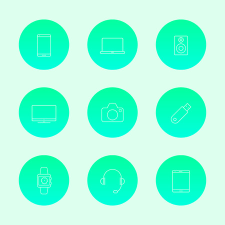 Gadgets (smartphone, tablet, tv, camera) line white icons, vector illustration