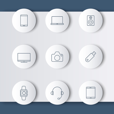 tv camera: Gadgets (smartphone, tablet, tv, camera) line round icons, vector illustration