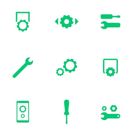 preferences: settings, configuration, preferences green flat icons, vector illustration