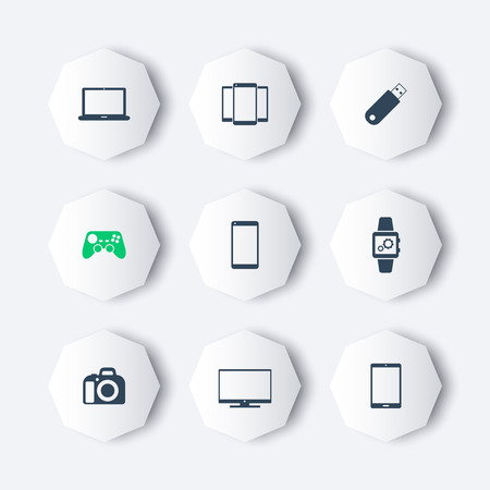 octagon: Gadgets modern octagon icons, vector illustration, eps10, easy to edit