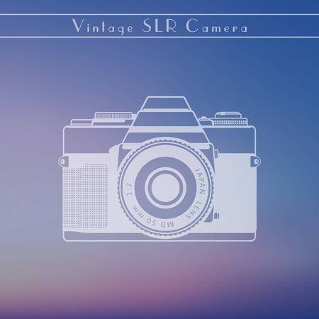 slr: Vintage slr camera on blur background, vector illustration, eps10, easy to edit Illustration