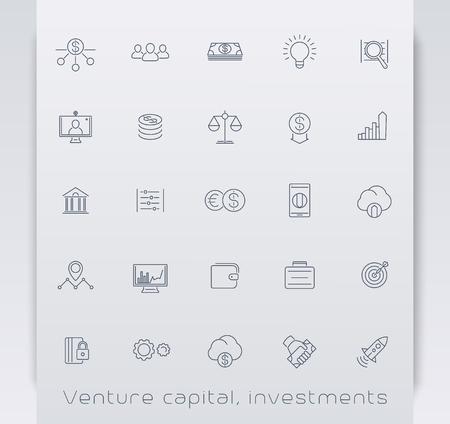 evaluacion: de capital, las inversiones, la bolsa, los iconos de línea, ilustración vectorial, eps10, fácil de editar Venture Vectores