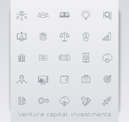 evaluation: Venture capital, investments, stock exchange, line icons, vector illustration, eps10, easy to edit
