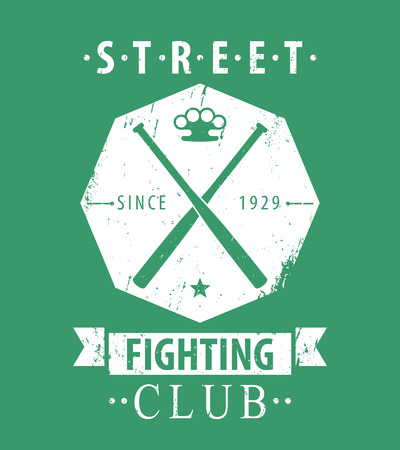 knuckles: Street Fighting Club grunge emblem with crossed bats and knuckles on green, vector illustration