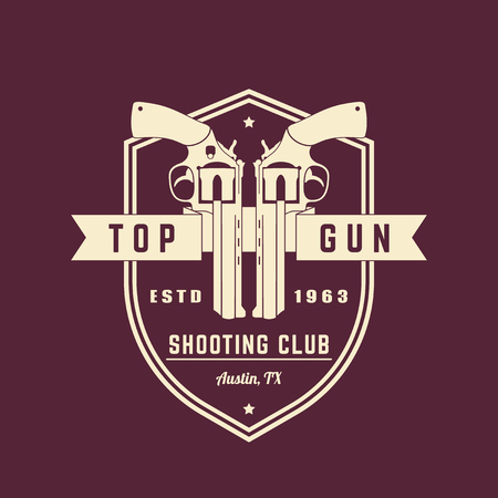 top gun: Gun club vintage, emblem with revolvers, vector illustration Illustration