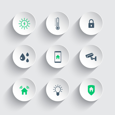 Smart house round modern icons, vector illustration, eps10, easy to edit