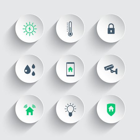 Smart House Runde modernen Icons, Vektor-Illustration, eps10, leicht zu bearbeiten Standard-Bild - 49787788
