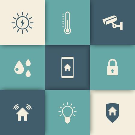 Smart house icons set, vector illustration, eps10, easy to edit Illustration