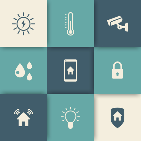 temperature: Smart house icons set, vector illustration, eps10, easy to edit Illustration