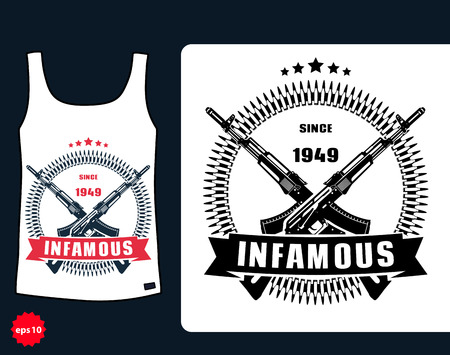 assault: t-shirt design, Infamous with assault rifle, vector illustration