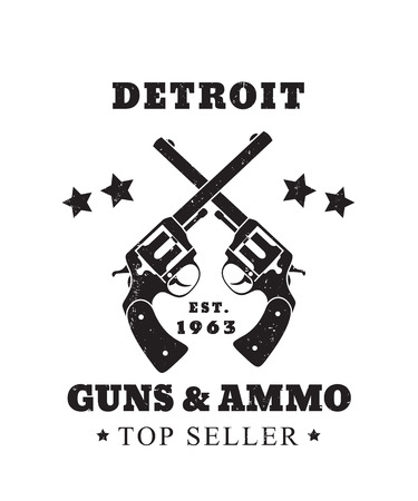 Detroit Guns and Ammo grunge emblem, vector illustration