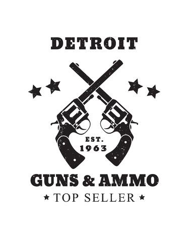 gun control: Detroit Guns and Ammo grunge emblem, vector illustration