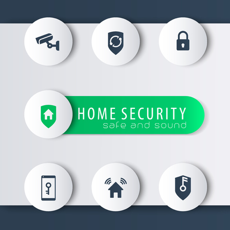 home video camera: Home security modern round icons with banner, vector illustration, eps10, easy to edit