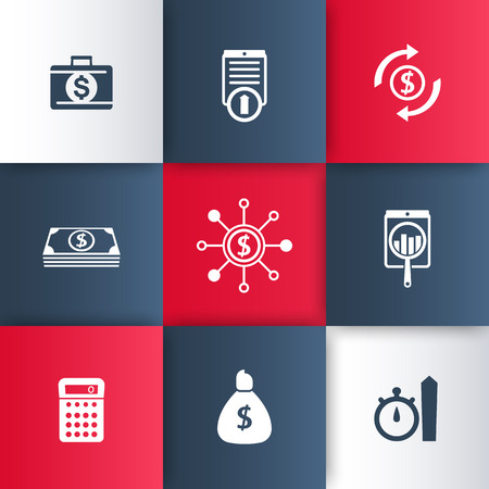 cost estimate: finance, investments, fund icons on geometric background, vector illustration, eps10, easy to edit Illustration