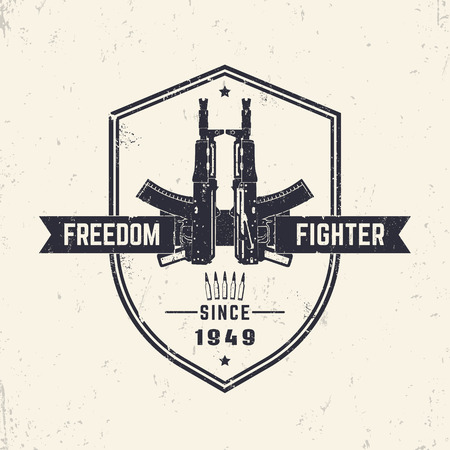 pistola: Freedom fighter, t-shirt design, print with automatic rifles, guns, vector illustration