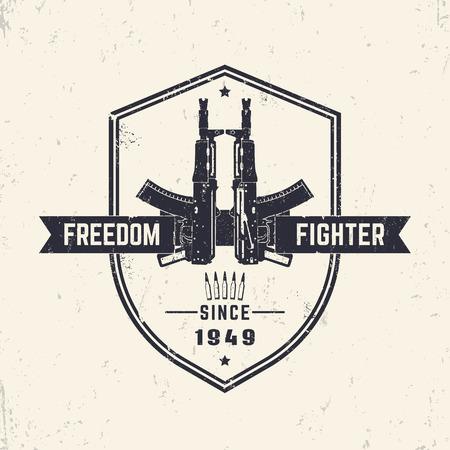 pistolas: luchador por la libertad, diseño de la camiseta, imprimir con rifles, pistolas, ilustración vectorial automática