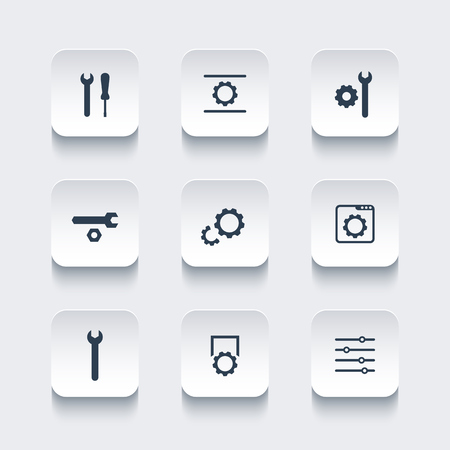 configuration: settings, configuration, development rounded square icons, vector illustration Illustration