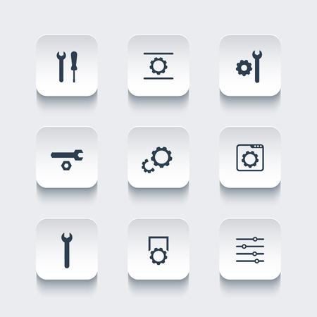 configuration: settings, configuration, development rounded square icons, vector illustration Illustration