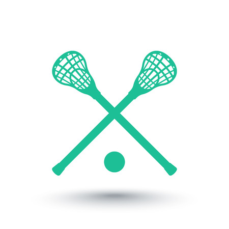 lax: Lacrosse icon, sign, crossed crosses, lacrosse sticks and ball, vector illustration