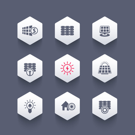 panels: Solar energy, panels, solar electricity hexagon icons, vector illustration