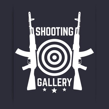 ak47: Shooting Gallery logo, sign, emblem with assault rifles, soviet automatic guns, vector illustration Illustration
