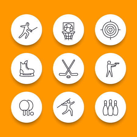 skating on thin ice: sports, games, team sport line round icons Illustration