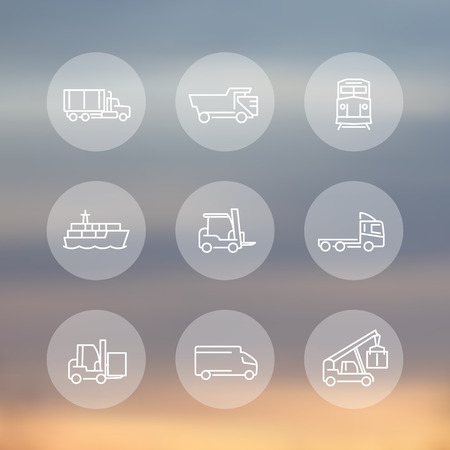 lading: Transportation, line transparent round icons, forklift, cargo ship, freight train, kinds of transportation, mode of transport, vector