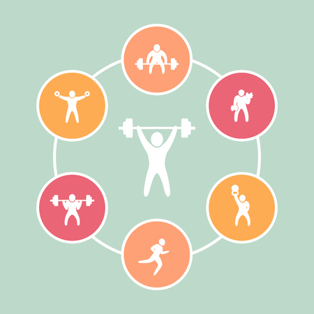 cross bar: Gym, fitness exercises round flat icons, vector illustration